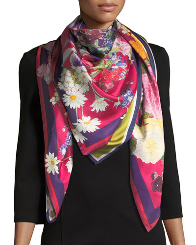 Gloria Double-Sided Floral Silk Scarf, Red/Green