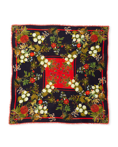 Greta Large Square Wool-Blend Scarf