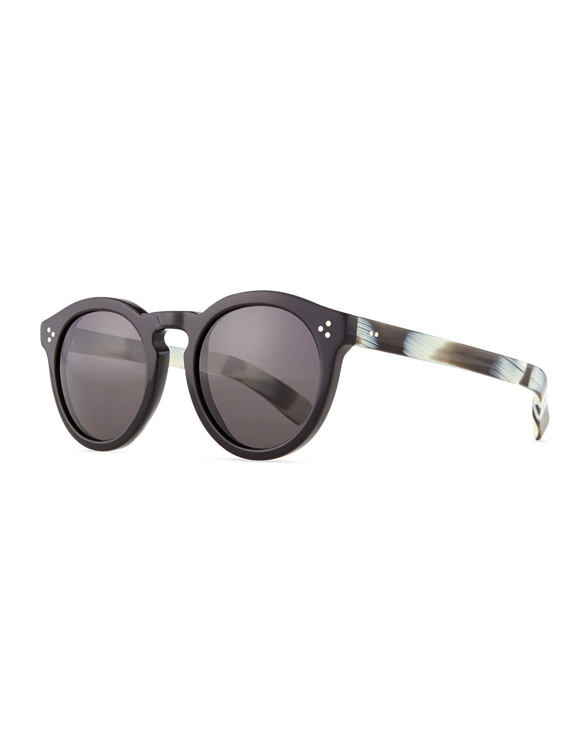 Leonard II Round Sunglasses, Black