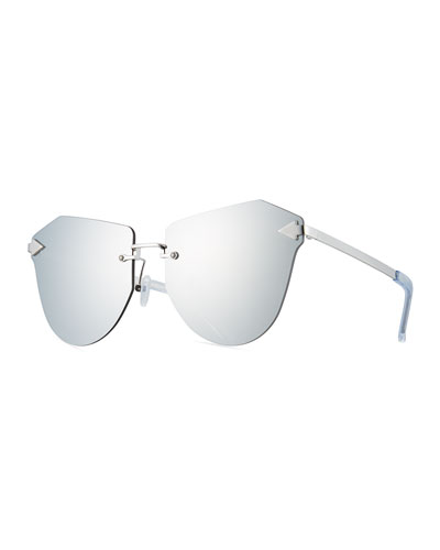 Dancer Rimless Cat-Eye Sunglasses, Silver