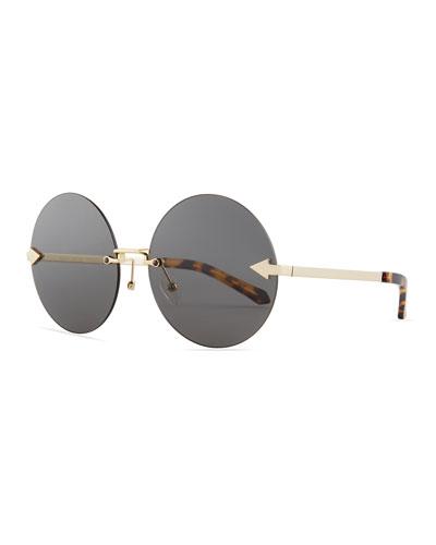 Disco Circus Rimless Round Sunglasses, Brown Pattern
