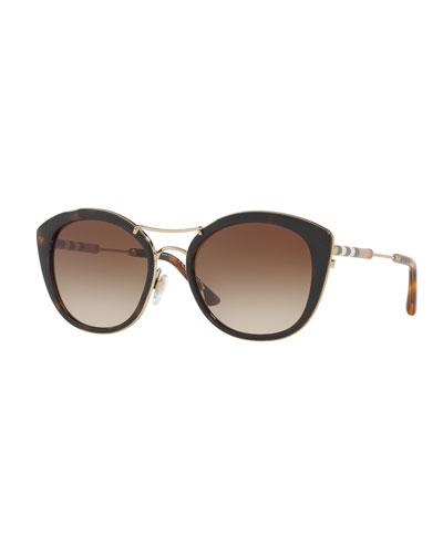 Round Sunglasses with Metal Trim