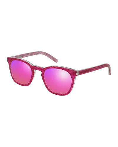 Glittered Acetate Sunglasses, Fuchsia
