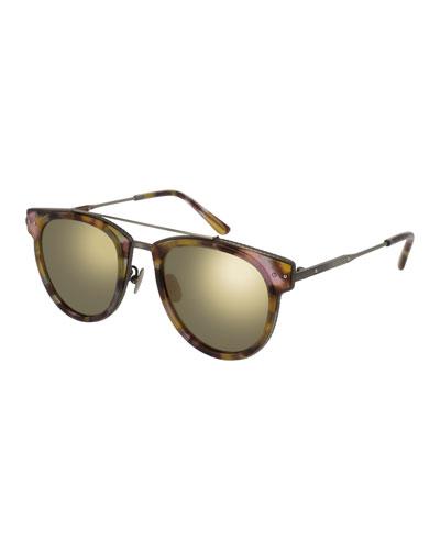Cat-Eye Acetate Intrecciato Sunglasses, Blue/Pink