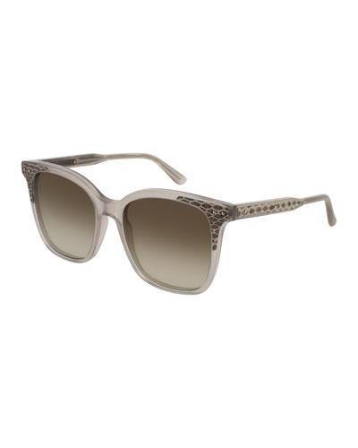 Square Intrecciato Acetate Sunglasses, Brown