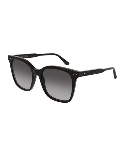 Square Intrecciato Acetate Sunglasses, Black