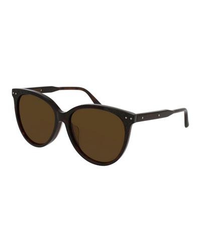 Cat-Eye Intrecciato Studded Sunglasses