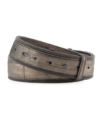 Brushed Metallic Leather Belt