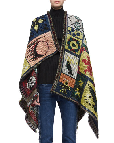 Needlepoint Wool-Blend Poncho