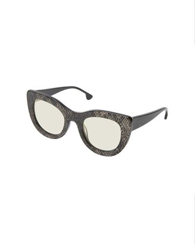 Delancey Cat-Eye Snake-Embossed Sunglasses