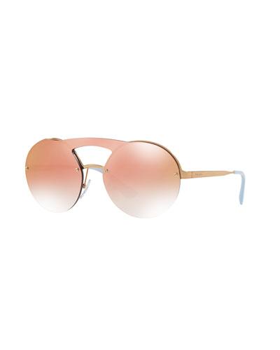 Curved Brow-Bar Round Sunglasses