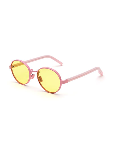Matte Round Sunglasses, Yellow/Pink
