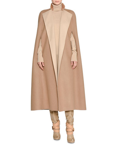 Double-Face Cashmere Cape w/Fur Collar