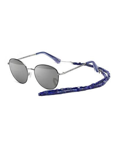 Gilmour Oval Sunglasses w/ Stone Neck Strap
