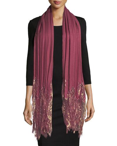Flat Plisse Shawl w/ Metallic Lace