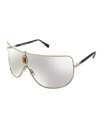 Metal Cutout Shield Sunglasses