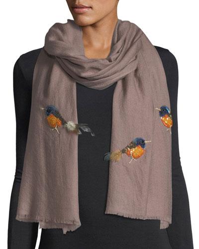 Embellished Birds Shawl