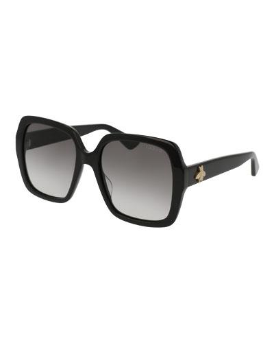 Square Bee & Logo Acetate Sunglasses