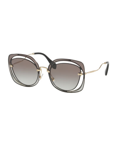 Gradient Square Cutout Metal Sunglasses