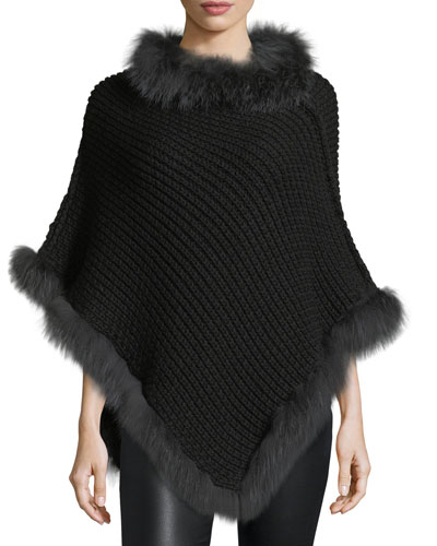 Cable-Knit Cashmere Fox-Trim Poncho, Black