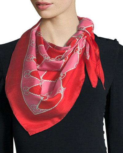 GG Rhombus Chain Silk Foulard Scarf