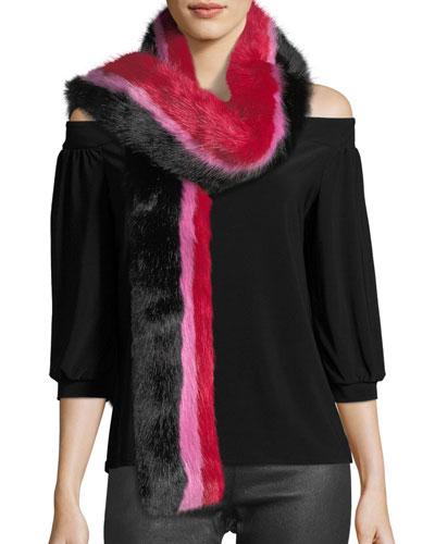 Snugglez Faux-Fur Striped Scarf