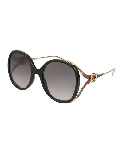 Oval Web GG Sunglasses, Black Pattern