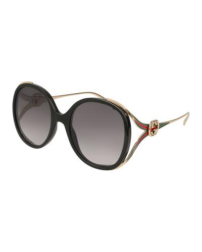 Oval Web GG Sunglasses, Black Pattern
