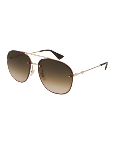 Glittered Metal Aviator Sunglasses, Yellow Pattern