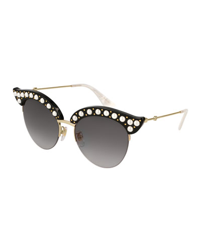 ada3d4077b2 Semi-Rimless Cat-Eye Sunglasses w  Pearlescent Bead Trim