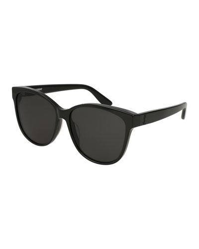 Cat-Eye Monochromatic Sunglasses, Black Pattern
