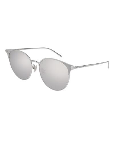 Unisex Round Mirrored Metal Sunglasses