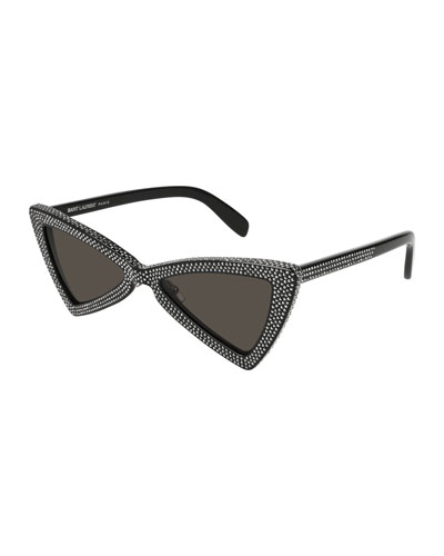 SL 207 Triangle Acetate Studded Sunglasses, Black Pattern
