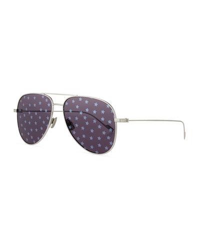 Metal Aviator Star-Lens Sunglasses