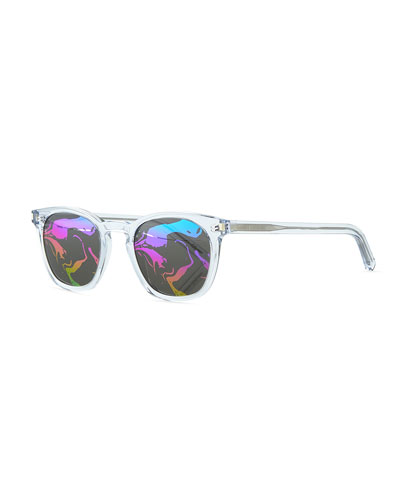 Mirrored Abstract Square Sunglasses