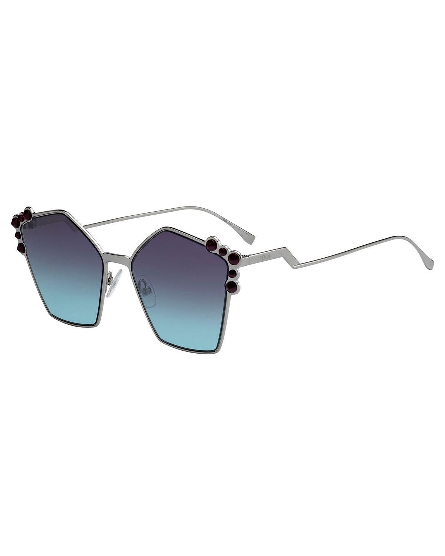 Fendi Sunglasses STUDDED OVERSIZED GEOMETRIC SUNGLASSES