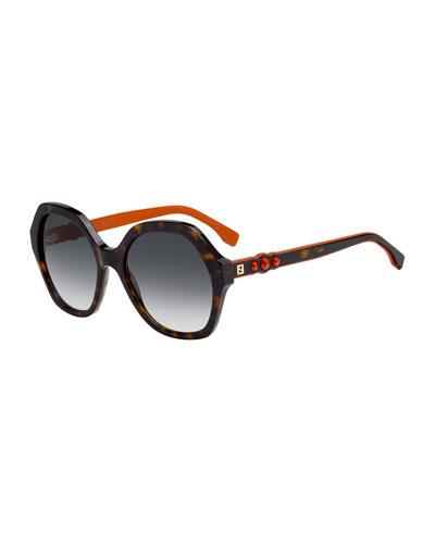 Fendi Studded Two-Tone Acetate Sunglasses