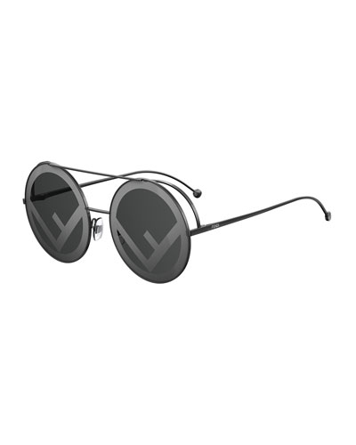 Round Logo-Lenses Sunglasses