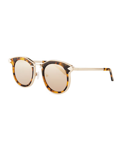 Bounty Round Mirrored Sunglasses, Brown