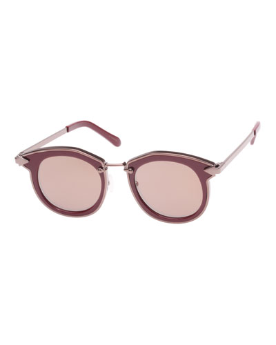 Bounty Two-Tone Round Sunglasses, Red