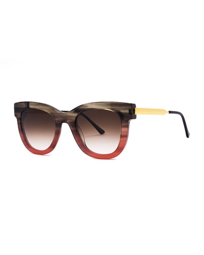Sexxxy Ombre Acetate/Metal Sunglasses, Brown Pattern