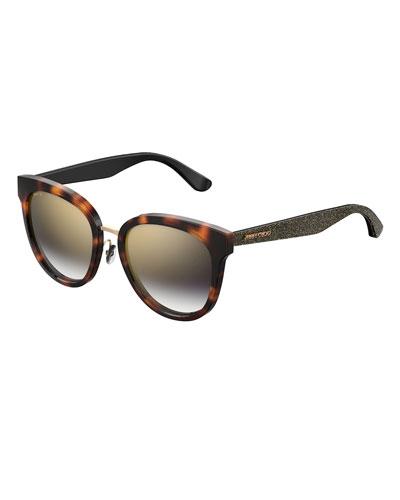 Cadefs Round Acetate Sunglasses w/ Glittered Arms