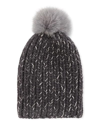 Rain Fur-Pompom Beanie Hat, Gray