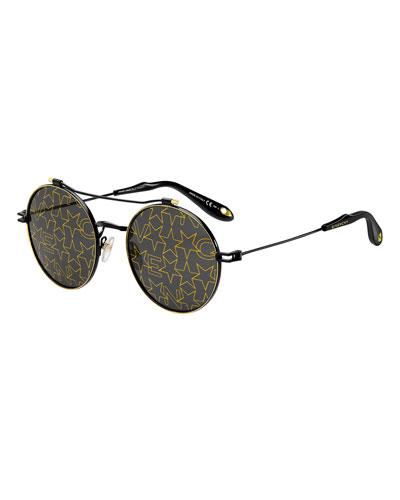 Givenchy Logo & Star Printed Round Sunglasses