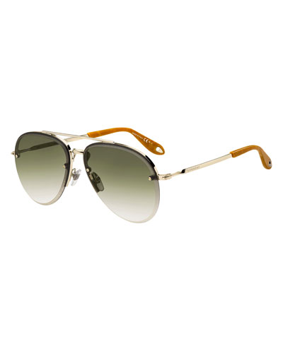 Semi-Rimless Gradient Aviator Sunglasses