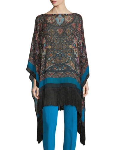 Lily Floral Paisley Fringe Poncho