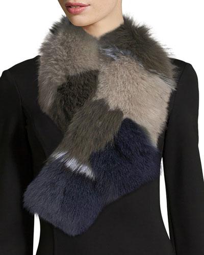 Fur Pull-Through Scarf, Multi Pattern