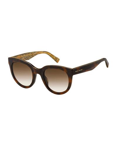 Round Gradient Sunglasses w/ Glittered Interior