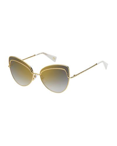 Metal Twist Cat-Eye Sunglasses
