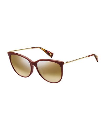 Mirrored Oval Acetate Sunglasses w/ Metal Twist Arms
